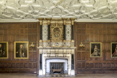 The fireplace in the Great Drawing Room at Rothamsted Manor, an event and filming location in Harpenden, Hertfordshire