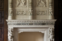 Fireplace detail in the Library  at Rothamsted Manor, an event and filming location in Harpenden, Hertfordshire
