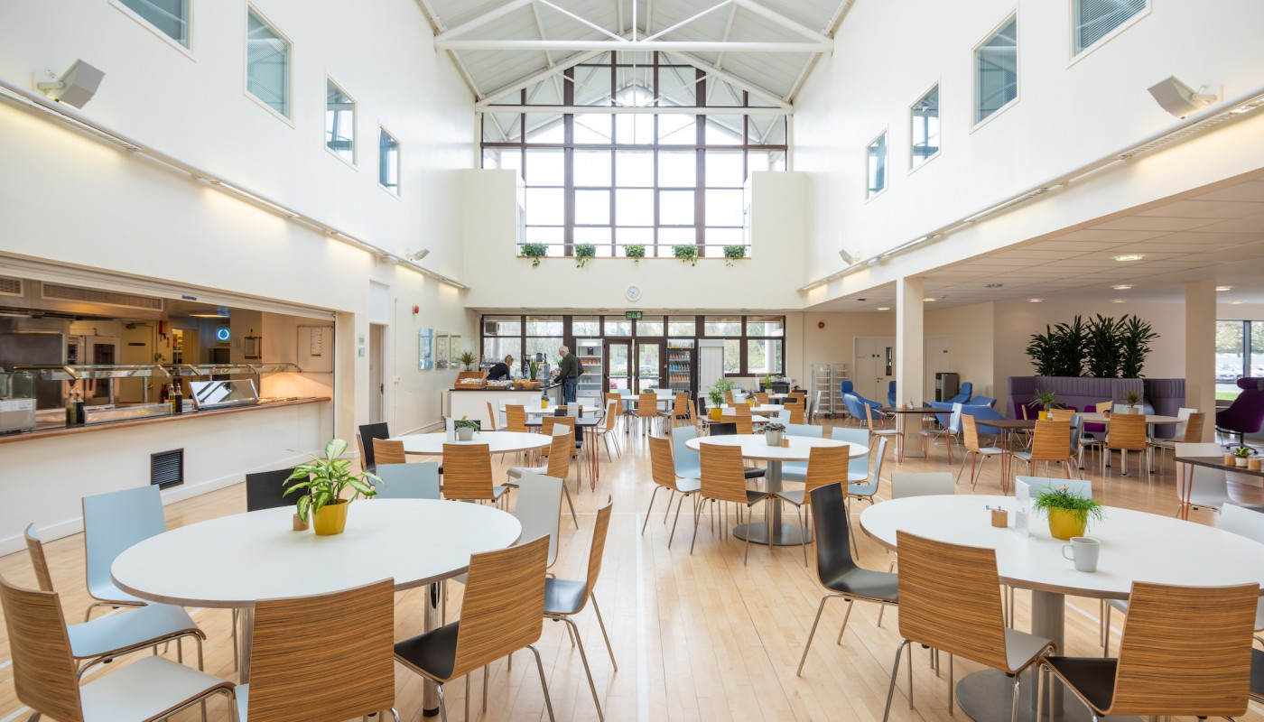 Rothamsted Restaurant laid out for lunchtime meals
