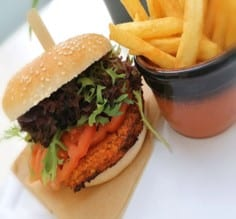 Smoky sweet potato, couscous and roasted red pepper burgers