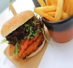 sweet potato couscous burger and fries