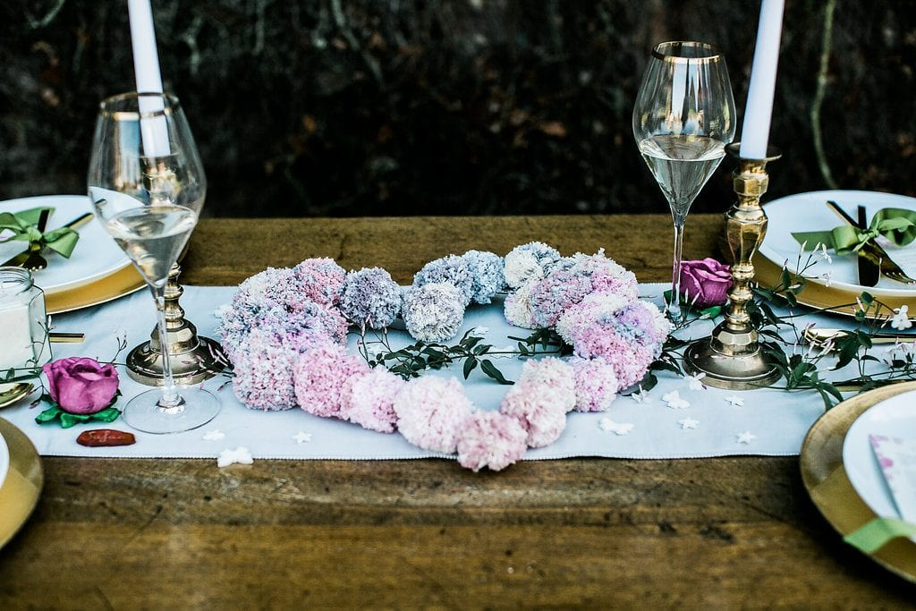 flower heart on table at Rothamsted Manor